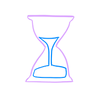 An illustration of an hourglass