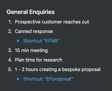 A screenshot showing a 5-step list including 2 'shortcuts' for standard responses.